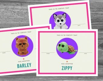 Beanie Boo Party Adoption Certificates -  Puppy Party Papers - Super High Quality PDF files that will make your party awesome!