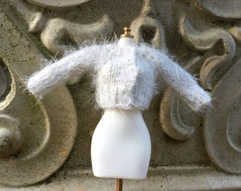White fuzzy sparkly cardigan doll sweater, white blythe sweater, fuzzy 12 inch doll sweater, luxury blythe doll gift, pure neemo sweater