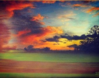 Landscape, Sunset, Vivid, Shepherds Delight, Acrylic Painting on Canvas, Bitcoin, Ethereum, ETH.