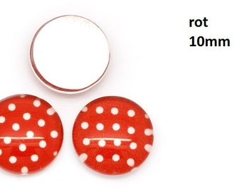 10 cabochons-10 mm glass points dots red black pink pink colorful -.