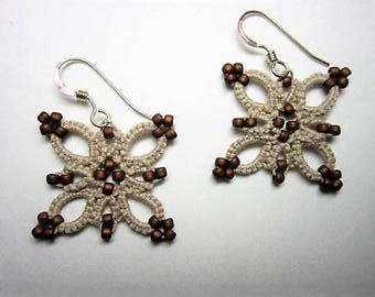 Hip to be Square Earring, Square Lace Earring, Earth-toned Earring, Tatted Lace Earring, Lace Earring, Beaded Earring, Beaded Lace Earring