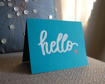 Hello with Heart, Note Card, Embossed, Marker Style, Mother's Day Gift
