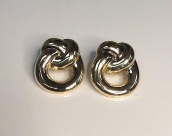 """Estate Italian 14K Yellow Gold 1.25"""" X 1.00"""" Knot Omega Back Earrings 14 Grams"""