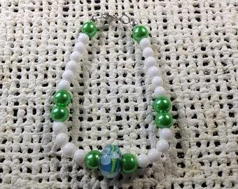 Green and blue glass bead bracelet