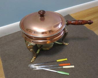 Vintage Fondue Set, VIntage Copper Fondue Set, Copper and Aluminum 8 Peice Large Fondue Set - V101