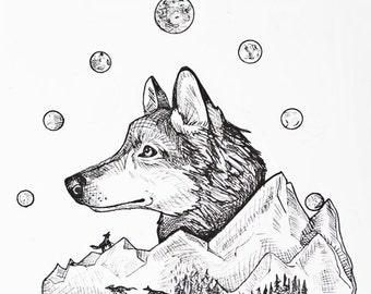 wolf art, wolf print, wolf,