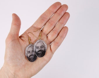 "Earrings ""jason urick"" made of shrink plastic"