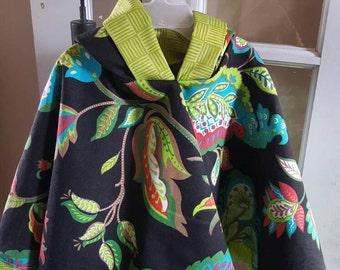 "Poncho Cloak ""Sabian"" Girls fun Floral Spring Cloak, hooded"