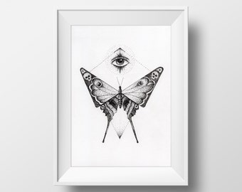 Butterfly Ink Drawing, 6 x 8