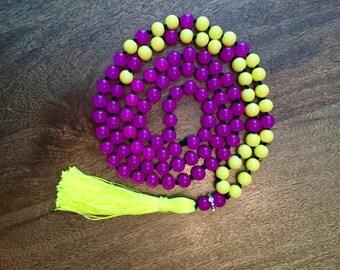 Mala Necklace in Neon Yellow and Fuscia