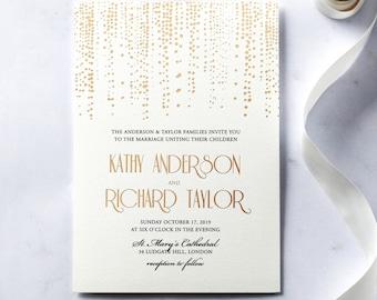 Dazzling Dotted Foil Stamped Wedding Invitation - IWF16080-KI-MG