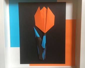 Origami Art - Orange tulip