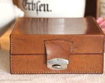 Leather box box box jewelry box leather vintage brocante butterscotch