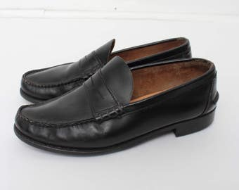 Vintage Black Leather Loafers/ Leather Shoes/ Size 42