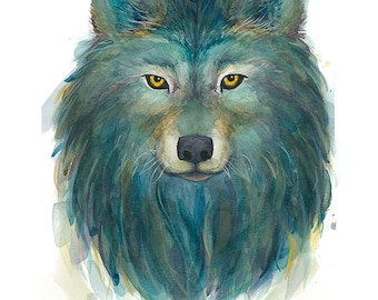 Wolf Spirit watercolor painting