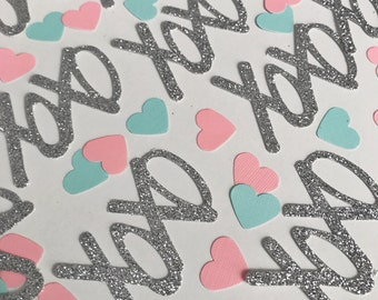 XOXO Confetti, Heart Confetti, Glitter Confetti, Wedding Confetti, Bridal Party Confetti, Silver Glitter, Pink Hearts, Tiny Hearts, Confetti