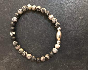 Semi Precious Stone Bracelet With 925 Silver Spacers