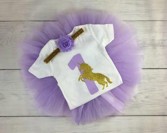 1st Birthday Outfit Girl Unicorn Tutu Outfit Lavender Gold Glitter Purple Bubblegum Chunky Necklace Leg Warmers Cake Smash Onesie Bodysuit