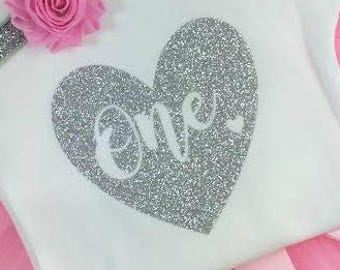 1st Birthday Girl IRON ON Transfer Decal Heat Transfer Silver Gold Rose Gold Glitter One Heart Birthday Party Iron On Cake Smash Outfit
