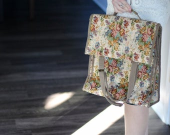 Vintage Floral Jade Luggage Purse Bag
