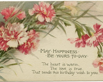 Antique Postcard Beautiful Pink Red Carnations Birthday Poem Pink of Perfection