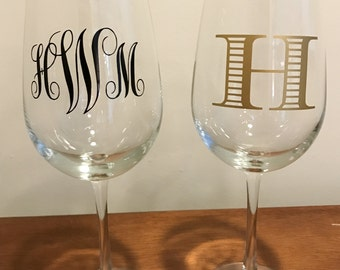 Custom Monogram Wine Glass.  Several Font and Color options available