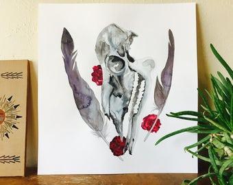 Original Watercolor Painting, Deer Skull + Vulture Feathers