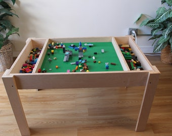 Building bricks table, activity table, kids table, not the trademarked company LEGO® Table with storage, train table,  building blocks table