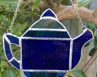Hand crafted stained glass multi coloured Teapot sun catcher.