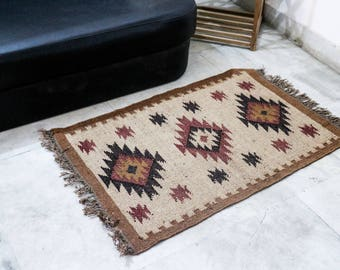 Handmade KILIM Rug, Earthy colors; Jute Rug; Kilim Dhurrie; Traditional Indian; Chic Victorian Hipster; Geometrical patterns, FREE SHIPPIING