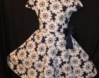 Navy blue floral print dress with bow easter