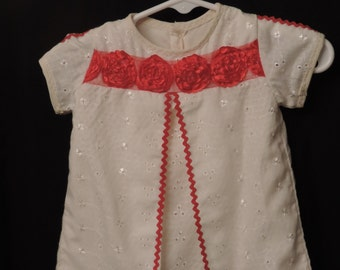 baby dress - ivory eyelet with red trim