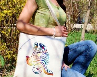 Turtle tote bag -  Kids shoulder bag - Fashion canvas bag - Colorful printed market bag - Gift Idea