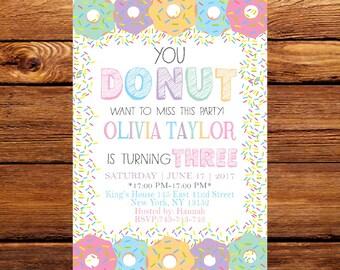 Donut Birthday Invitation, Donut Invitation, Donuts and Pajamas, Sweet Celebration,Donut Invitation, First Birthday Pink Donut Invitation168