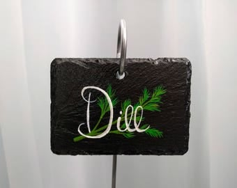 Dill Slate Herb Garden Marker - Stake Included