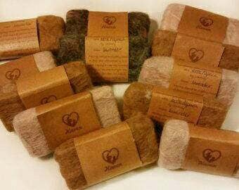 Felted soaps - Natural soaps - Essential oils - Wedding favor - Gift set - Alpaca fiber - soft, felted, hand-cut - Set of 12 - Great gift