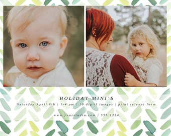 Holiday Mini Session template - boho,rustic,watercolor