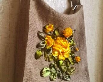 Eco bag_handmade ribbons embroidery_handbag_tote_Yellow roses_Fisenko