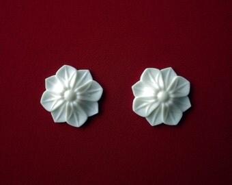 2x Decorative Flower Resin Applique - Furniture/Door Moulding - Onlay