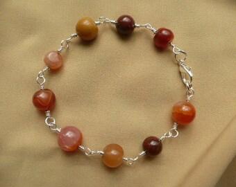 Semi-precious bead wire wrapped bracelet