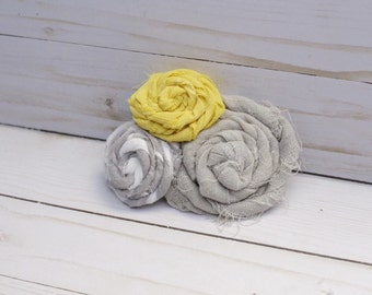 Yellow and grey shabby chic girls barrette