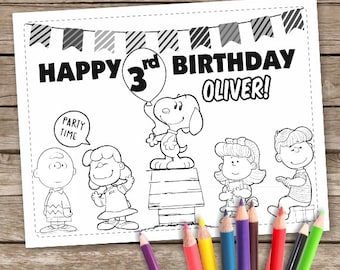 Charlie Brown Coloring Pages Peanuts Party Favor Snoopy Birthday Sheets 6 Printable