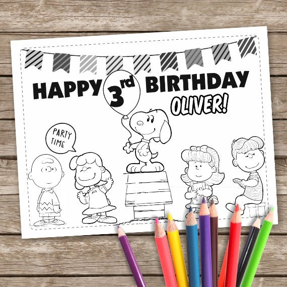 Details Charlie Brown Party Favor Personalized Coloring Pages Activity