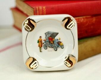 French vintage ashtray car fiat 1901 - Porcher Porcelain Limoges - white and gold square - collectable - bar & café memorabilia