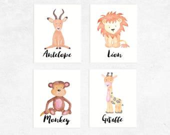 Safari Animals Printables | 4 Set | Antelope | Lion | Monkey | Giraffe | Nursery Prints | Watercolor | Baby Art | Safari
