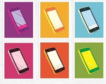 50% Off Sale - Pop Art Smart Phone Art Printables | 6 Set | Pop Art | Fun Art | Contemporary Art | Cell Phone | Mobile Phones | Modern Art