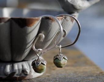 Large Hoop Earrings, Green and Sterling Silver Jewelry, Green Stone Hoop Earrings,