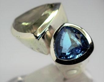 Quartz silver ring prasiolite and Topaz blue