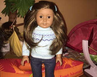 American girl doll tan skin brown hair Hawaii ready