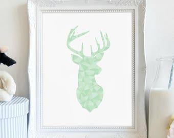 Deer Silhouette Print, Aqua Geometric, Animal Art, Nursery Print, Digital Print, Instant Download, Wall Art, Printable Art